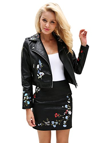 (Missy Chilli Women's Faux Leather Embroidered Biker Motorcycle Jacket Outwear)