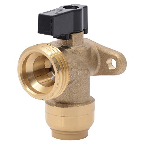 Sharkbite 25560LFA Washing Machine Angle Valve, 1/2 inch x 3/4 inch MHT Garden Hose Valve, Push-to-connect Copper, PEX, CPVC, PE-RT (Copper Valve)