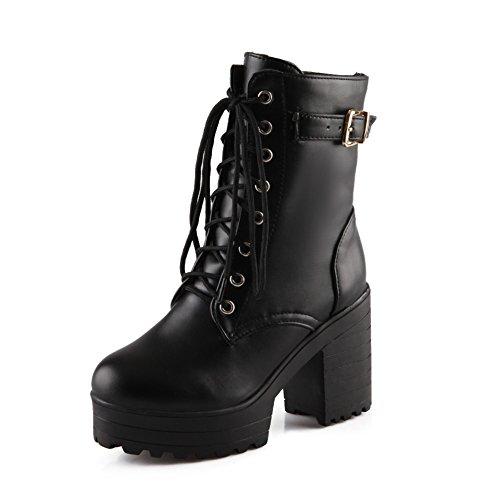Lucksender Womens Lace Up Platform Combat Chunky Heel Martin Boots 7B M Us Black
