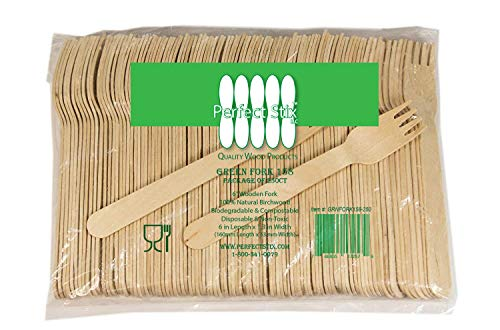Perfect Stix Green Fork 158-250ct Disposable Wooden Forks (Pack of 250)