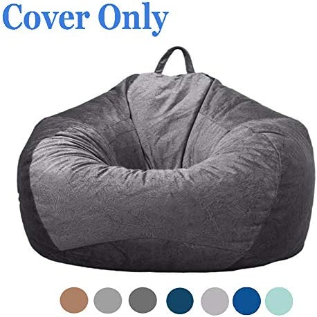 Posh Microsuede Stuffed Animal Storage Bean Bag Chair Cover No Filler Stuffable Zipper Beanbag Replacement Cover for Kids and Adults Without Filling