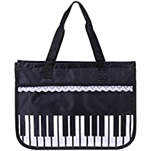 Macks.i Piano Keys Music Tote Bag with Lace Ribbon Water-Resident Oxford Cloth Horizontal Zip Top Lesson Bag Light weight