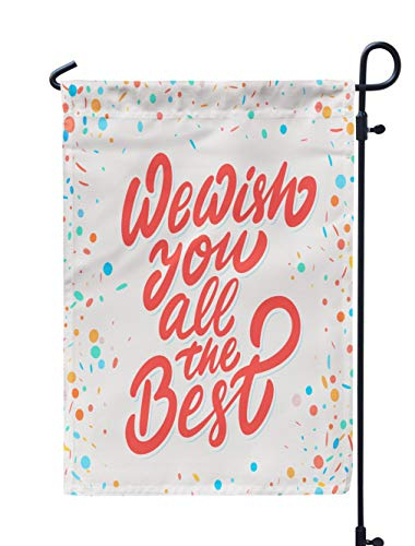 Soopat Best Seasonal Flag, Wish You Best Lettering Card Banner Good Weatherproof Double Stitched Outdoor Decorative Flags for Garden Yard 12''L x 18''W Welcome Garden Flag (Best Wishes Phrases Farewell)