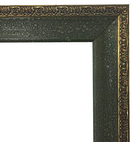 ImpactInt Italian Vintage Antiqued Dark Green Wooden Textured Picture Frame with Ornate Gold Border (8x10 Inch)