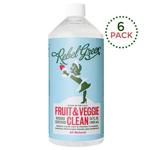 (Rebel Green Fruit and Veggie Cleaner, Natural Fruit & Vegetable Produce Wash - 34 Ounce Refill, Pack of 6 )