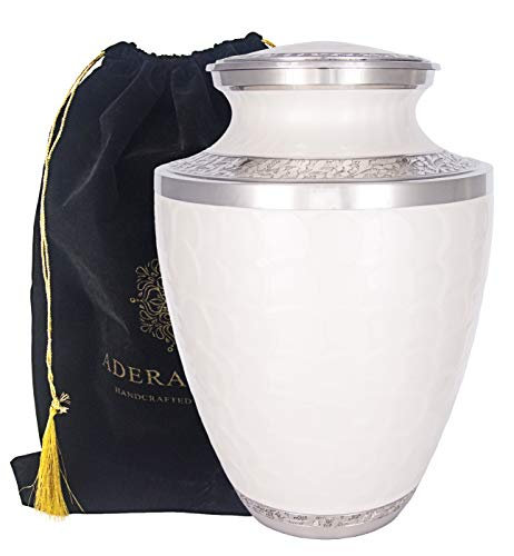 (Adera Dreams Adult Cremation Urn for Human Ashes Pearl White Large Funeral Urn for Adult - with Velvet Carry Pouch - Handcrafted Full Size Burial Urn)