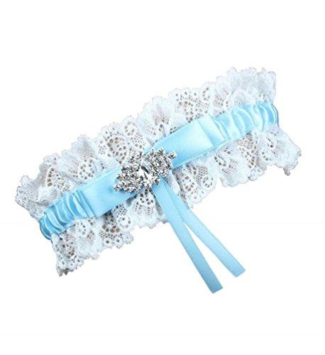 Debbie's Bridal One Piece Garter for Wedding and Prom Bridal Garter Light Blue]()