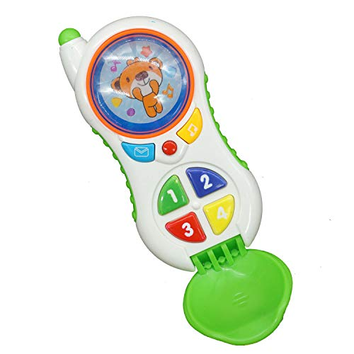 Cooplay Toddler Baby Phone Toy Replacement Mobile Shape Play Music Animal Learning Sound Ringtone Lighting for Kids Children (Green Bear Flip Phone) (Best Mobile Ringtone Music)
