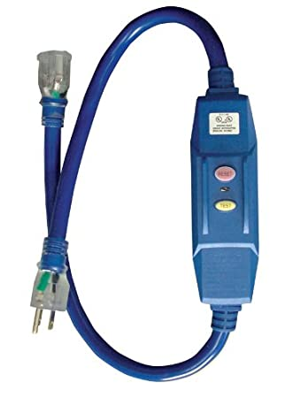 Voltec 04-00103 12/3 STW 20 Amp GFCI Adapter with Lighted End, 3-Foot, Blue with Yellow Stripe (colors may vary)