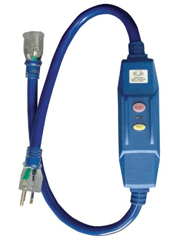 Voltec 04-00103 12/3 STW 20 Amp GFCI Adapter with Lighted End, 3-Foot, Blue with Yellow Stripe