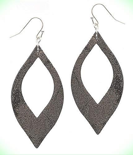 Leather Like Black/Silver Colored Metallic Open Cut Dangle Wire Earrings For Women