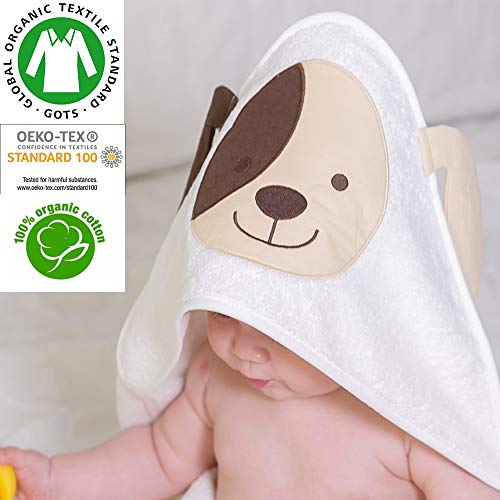 Baby Animal Face Organic Hooded Towel, Baby Bath Towel, Infant/Newborn/Baby Shower Present for Boy&Girls,%100 GOTS Certified (Brown Dog)]()