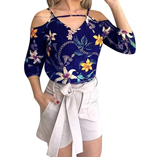 DAYPLAY Summer Tops for Women V Neck Short Sleeve Cold Shoulder Floral Print Top Blouse for Ladies 2019 Sale Blue