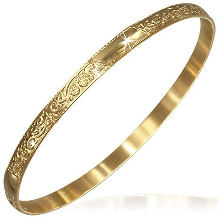 Stainless Steel Yellow Gold-Tone Flowers Floral Design Womens Classic Bangle Bracelet - Floral Design Bangle