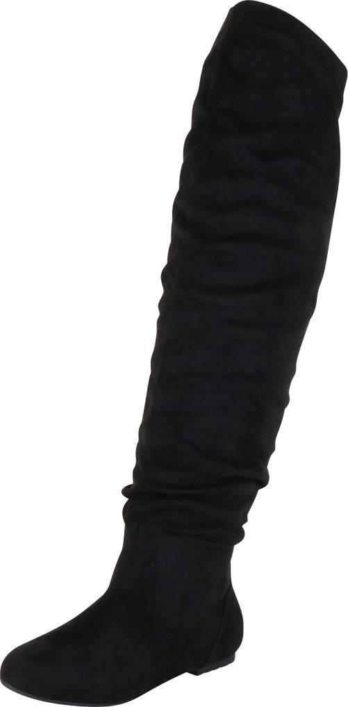 Nature Breeze Women's Stretchy Thigh High Boot Black 9 by Nature Breeze