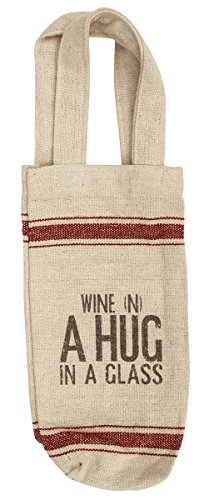 YEAR END DEALS - SouvNear Jute Wine Bag - A Hug in a Glaas Wine Bottle Bag with Handel Handmade in Khadi Cotton 17 x 6 inch - Wine Accessories Gifts for Wine-Lovers (Market Basket Hours New Years Day)