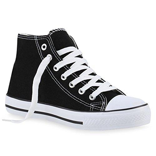 Schnürer High Damen Schuhe Flats Flandell Sportschuhe Turnschuhe Schwarz Freizeit Stoffschuhe Stiefelparadies Denim Sneakers Sneaker 4Uppq