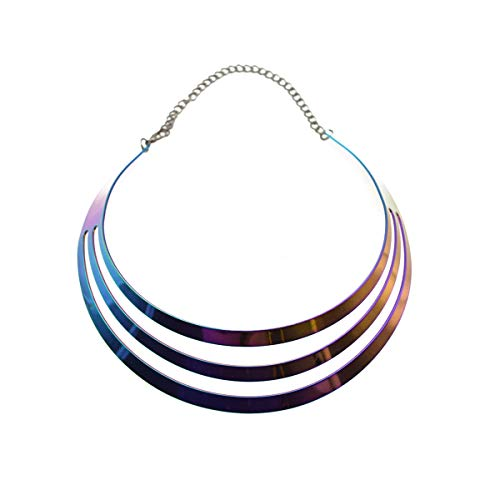 (Metal Chunky Statement Choker Statement Necklace Set Twist Curved Spiral Earrings (Multicolor Necklace))