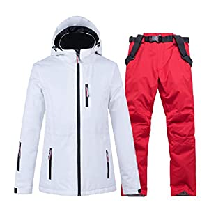 PEIN Men/Woman/Ski Suits/Jacket And Pants/Windproof And Waterproof Outdoor Clothes/Winter Sports/white Top/Red Pants/Couple Suit,ski suits-XXXL