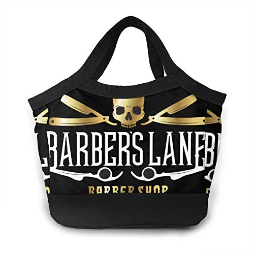 Skull Barber Shop Navajas Razor Sign Lunch Bag Insulated Lunch Bag Leak Proof Lunch Tote Bag For Women Men Aduts Kids Work Hiking Beach Picnic Fishing Shopping School Camping -