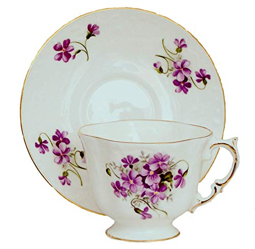 (WILD VIOLETS Embossed Tea Cup and Saucer - Fine English Bone China)