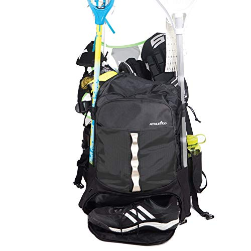 Athletico Lacrosse Bag - Extra Large Lacrosse Backpack - Holds All Lacrosse or Field Hockey Equipment - Two Stick Holders and Separate Cleats Compartment (Black)