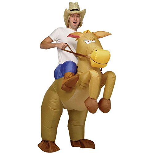 [Halloween Inflatable Cowboy Outfit Horse Fancy Dress Costume Stag Night P...] (Cowboy Riding A Horse Costume)