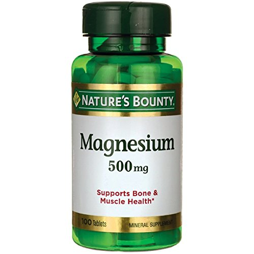Nature's Bounty Magnesium, 500 mg Coated Tablets, Mineral Supplement, Supports Bone and Muscle Health, Gluten Free, Vegetarian, 100 Count (Pack of -