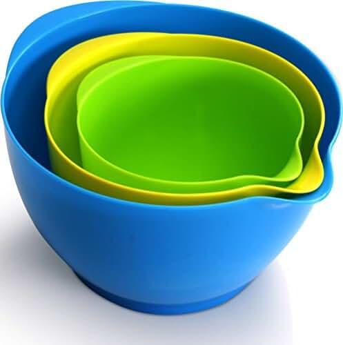 Mixing Bowl Ser (3 piece- 1.2 quarts, 2.1 quarts, 3.6 quarts) Simple Grip Handle With Non Skid Base by Utopia Kitchen
