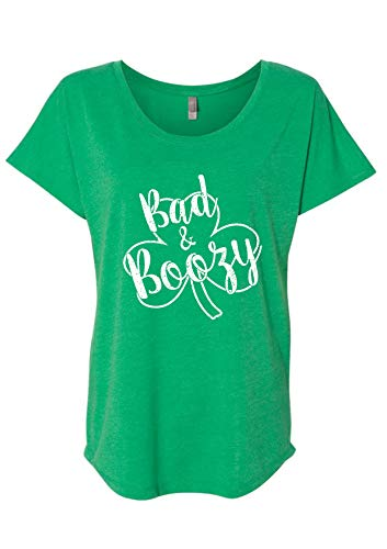 St Patrick's Day Bad and Boozy Women's Funny Drinking Flowy Tee L Kelly Green ()