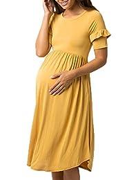 Womens Maternity Short Sleeve Swing Pregnancy Cotton...