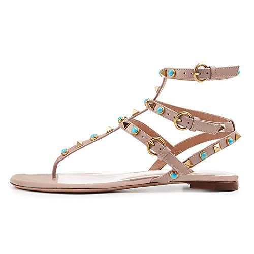 VOCOSI Women's Rivets Studded Flats Shoes T-Strap Strappy Flats Thong Sandals Shoes Natural 9 US