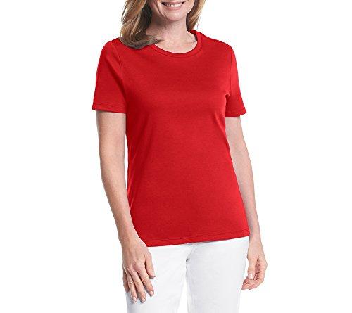 Silk Cotton Crewneck T-shirt (Studio Works Petites' Solid Crew Neck Tee Silk Red Petite Small)