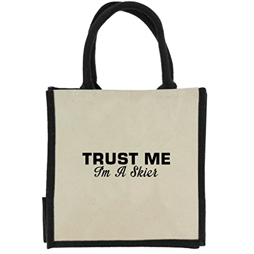 Trust Me I m A Skifahrer in schwarz print Jute Midi Einkaufstasche mit schwarzen Griffen und Rand IcHRnPsAl