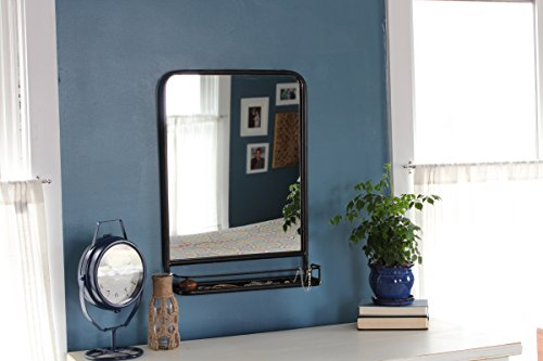 Urban Legacy Black Mirror, Metal Framed with Shelf (Vintage, Lightly Distressed (27 In. x 20 In.)