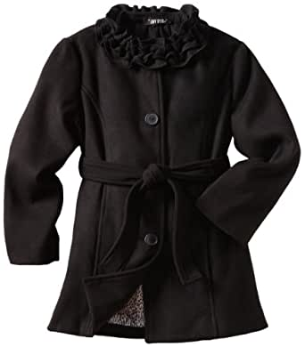 Amy Byer Big Girls'  Solid Coat With Ruffle Collar, Black, Large