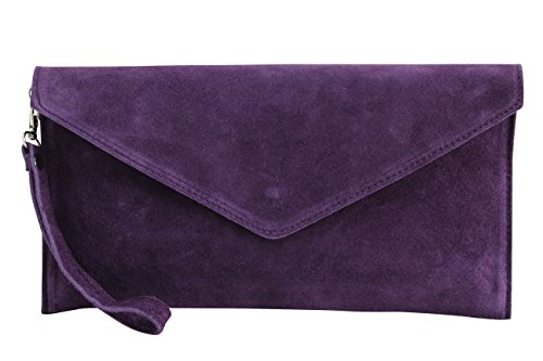 AmbraModa bolsa de embragues, envelope clutch, carteras de mano de ante genuino para mujer WL801 (Morado Oscuro)