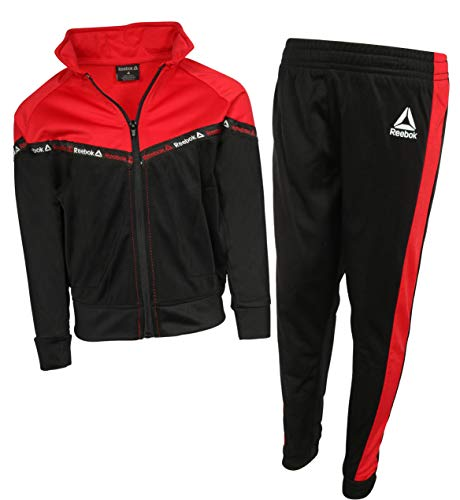 Reebok Boys 2-Piece Tricot Performance Zip Up Jacket and Matching Jogger Tracksuit Set, Black/Red, Size 4'