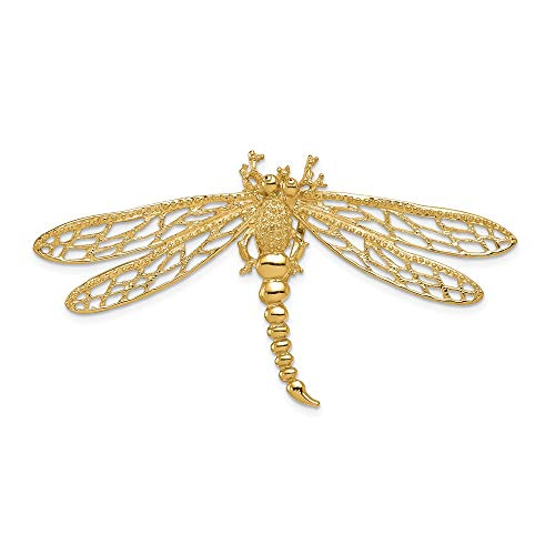 14k Yellow Gold Cut-out Dragonfly Slide 4.68g