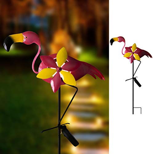 Hannahs Cottage 27.7 Flamingo Decorative Garden Stake, Solar Lighted Pathway Lights Decorations for Garden, Patio, Backyard, Outdoor Paradise (Pink)