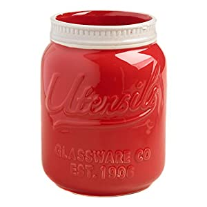 Red Ceramic Mason Jar Utensil Holder