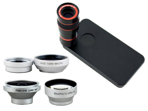 Apexel 4 in 1 Camera Lens Kit Macro & Wide Angle/ Fisheye Lens /2x Telephoto Lens and 8x Telescope Lens with Tripod& Back Case for Samsung Galaxy S6
