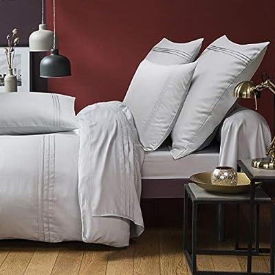 Funda de Almohada de satén de algodón – Renacimiento Estampado Tradicional 100% algodón satén 110 Hilos 71 x 39 100/100, Gris, 86 x 185 cm: Amazon.es: Hogar