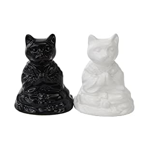 BUDDHA CATS MEDITATING CERAMIC MAGNETIC SALT PEPPER SHAKERS by Attractives