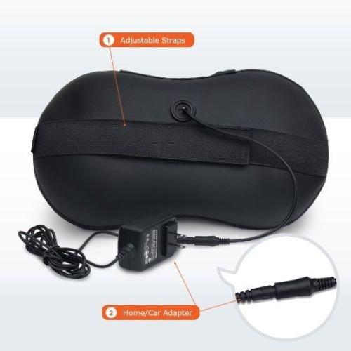LiBa Shiatsu Neck & Back Massager Pillow - Shiatsu Massager w/ Heated Balls & Car Massager (Black)