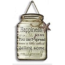Rustic Tin Mason Jar Sign- Happiness