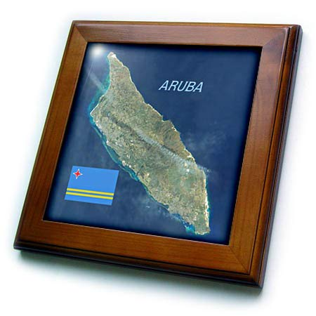 3dRose Lens Art by Florene - Topo Maps and Flags - Image of Aerial Topo View with Flag of Aruba - 8x8 Framed Tile (ft_306862_1)