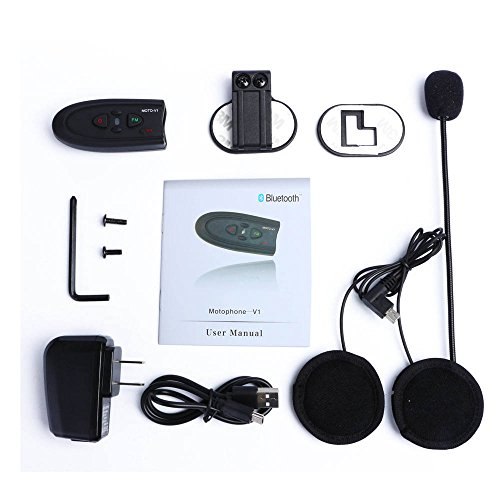 Showkoo Motorcycle Helmet V1 Bluetooth 4.0 Headset Intercom, Wireless Handsfree Stereo Headphones Interphone with FM Function