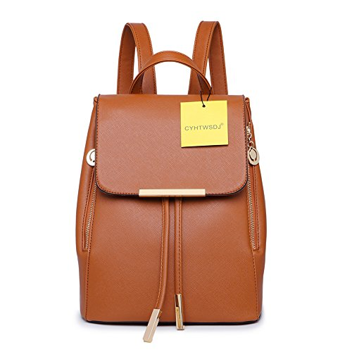 Women Backpack Purse PU Washed Leather Large Capacity Ladies Rucksack Shoulder Bag (Brown 1) by CYHTWSDJ