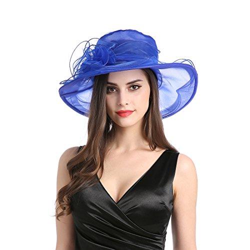 - Women's Organza Church Derby Fascinator Cap Kentucky Tea Party Wedding Hat Blue